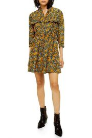 Topshop Floral Print Pleat Minidress at Nordstrom Rack