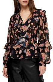 Topshop Floral Print Ruffle Blouse   Nordstrom at Nordstrom
