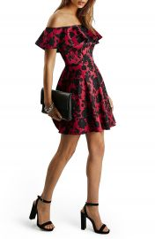 Topshop Floral Print Ruffle Off the Shoulder Fit   Flare Dress at Nordstrom