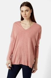 Topshop Front Seam V-Neck Sweater at Nordstrom