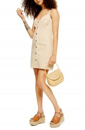 Topshop Gingham Sleeveless Denim Minidress  Petite    Nordstrom at Nordstrom