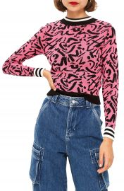 Topshop Graffiti Jacquard Sweater   Nordstrom at Nordstrom