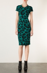 Topshop Green Leopard Bodycon Dress at Nordstrom
