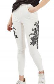 Topshop Jamie Floral Embroidered Jeans at Nordstrom