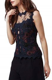 Topshop Lace Overlay Illusion Shell at Nordstrom