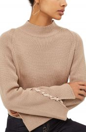 Topshop Lace Sleeve Funnel Neck Sweater at Nordstrom