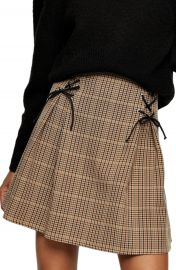 Topshop Lace-Up Check Miniskirt   Nordstrom at Nordstrom