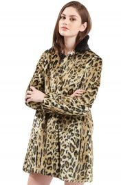 Topshop Leopard Print  Faux Fur Swing Coat   Nordstrom at Nordstrom