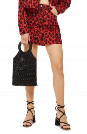 Topshop Leopard Print Denim Skirt at Nordstrom