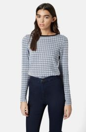 Topshop Long Sleeve Houndstooth Top at Nordstrom