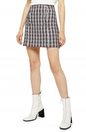 Topshop Metallic Thread Plaid Boucl   Miniskirt   Nordstrom at Nordstrom