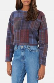 Topshop Mixed Plaid Crop Sweater at Nordstrom