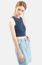 Topshop Moto Zip Back Denim Crop Top at Nordstrom