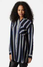 Topshop Oversize Stripe Shirt at Nordstrom