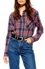 Topshop Pacey Washed Check Plaid Shirt   Nordstrom at Nordstrom