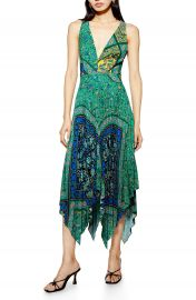 Topshop Paisley Handkerchief Hem Pinafore Midi Dress   Nordstrom at Nordstrom