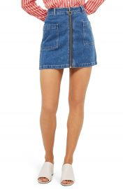 Topshop Patch Pocket A-Line Denim Miniskirt at Nordstrom