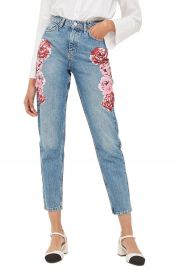 Topshop Peony Print Crop Mom Jeans at Nordstrom