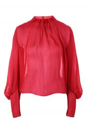 Topshop Pleat Neck Blouse at Nordstrom