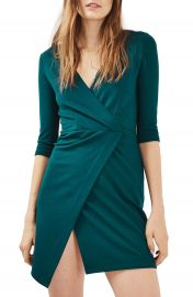 Topshop Ponte Faux Wrap Minidress at Nordstrom