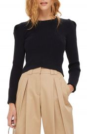 Topshop Puff Sleeve Ribbed Sweater at Nordstrom