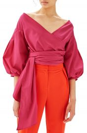 Topshop Puff Sleeve Wrap Top at Nordstrom
