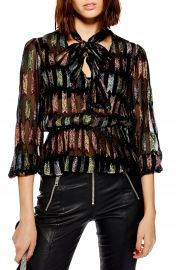 Topshop Rainbow Bow Blouse   Nordstrom at Nordstrom