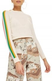 Topshop Rainbow Sleeve Knit Top at Nordstrom