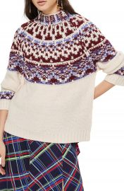 Topshop Reverse Fair Isle Sweater   Nordstrom at Nordstrom