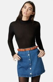 Topshop Rib Knit Funnel Neck Top in black at Nordstrom