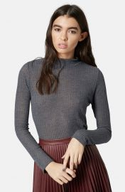 Topshop Rib Knit Funnel Neck Top in grey at Nordstrom