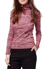 Topshop Ribbed Turtleneck Sweater in Dark Pink at Nordstrom