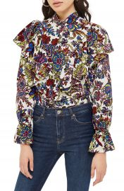 Topshop Rokit Floral Ruffle Blouse at Nordstrom