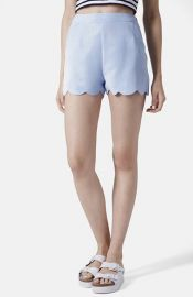 Topshop Scallop Hem Crepe Shorts at Nordstrom