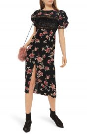 Topshop Sequined Floral Puff Sleeve Midi Dress at Nordstrom