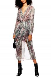 Topshop Snake Print Chiffon Midi Dress  Regular  amp  Petite    Nordstrom at Nordstrom