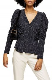 Topshop Star Print Puff Sleeve Blouse   Nordstrom at Nordstrom