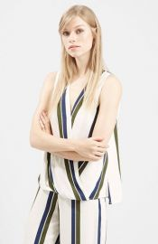 Topshop Stripe Draped Blouse at Nordstrom