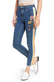 Topshop Stripe Floral Denim Pants at Nordstrom