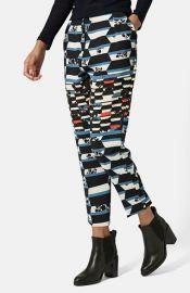 Topshop Stripe Floral Peg Trousers at Nordstrom