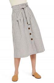 Topshop Stripe Tie Waist Midi Skirt at Nordstrom