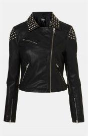 Topshop Studded Faux Leather Biker Jacket at Nordstrom