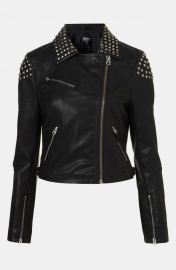 Topshop Studded Faux Leather Biker Jacket at Nordstrom