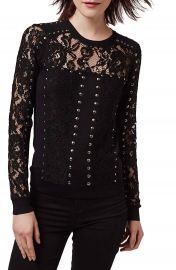 Topshop Studded Lace Top at Nordstrom