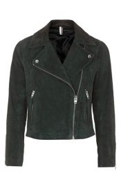 Topshop Suede Caddy Jacket in Dark Green at Nordstrom