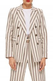 Topshop Taupe Stripe Double Breasted Blazer at Nordstrom