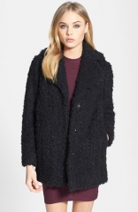 Topshop Teddy Faux Fur Peacoat at Nordstrom