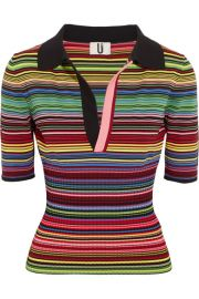 Topshop Unique   Striped ribbed stretch-knit polo shirt at Net A Porter