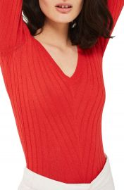Topshop Wide Double V-Neck Ribbed Knit Top at Nordstrom