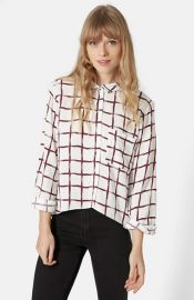 Topshop Windowpane Curve Hem Shirt at Nordstrom